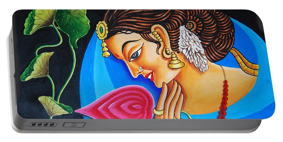 Nature Portable Battery Charger featuring the painting Colour And Creativity by Ragunath Venkatraman