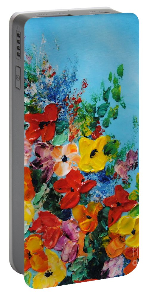 Colorful.red Portable Battery Charger featuring the painting Colour Of Spring by Teresa Wegrzyn