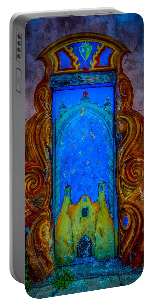 Colourful Portable Battery Charger featuring the photograph Colourful Doorway Art On Adobe House by Gareth Burge Photography