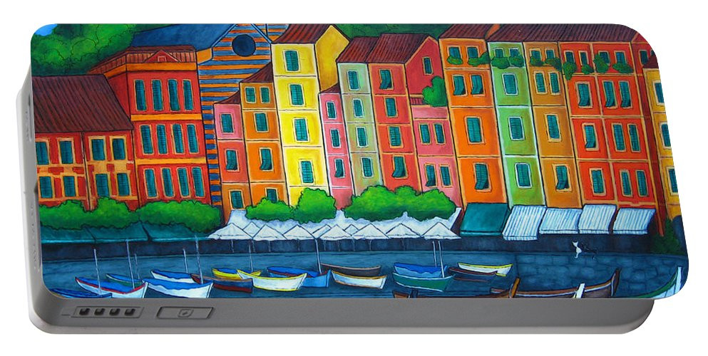 Portofino Portable Battery Charger featuring the painting Colours Of Portofino by Lisa Lorenz