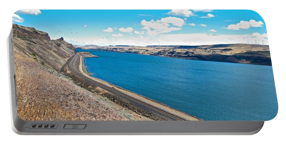 Columbia River Portable Battery Charger featuring the photograph Columbia River Rolls On Between Oregon And Washington by Ruth Hager