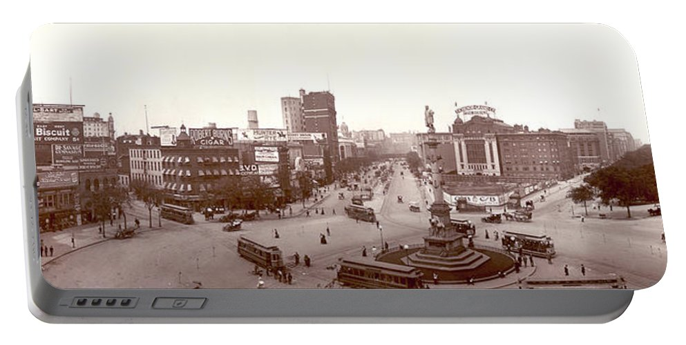 Columbus Circle New York 1907 Portable Battery Charger featuring the digital art Columbus Circle New York 1907 by Unknown