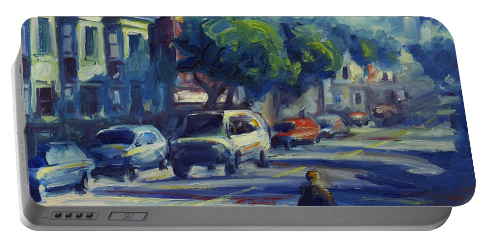 Cityscape Portable Battery Charger featuring the painting Columbus Street by Rick Nederlof