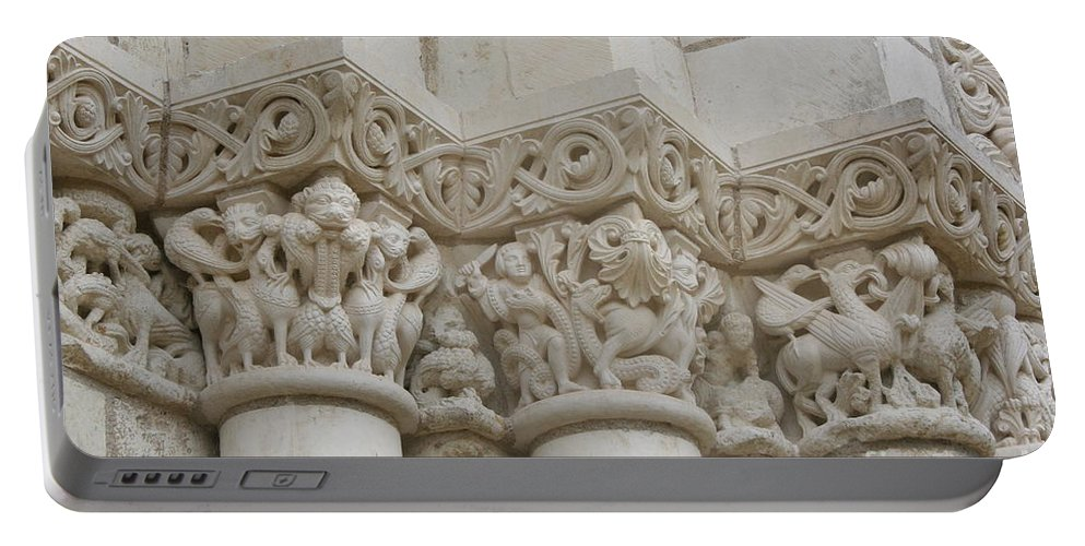 Frieze Portable Battery Charger featuring the photograph Column Relief Abbey Fontevraud by Christiane Schulze Art And Photography