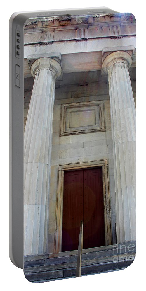 Column Portable Battery Charger featuring the photograph Columns Of Second Bank In Philadelphia by Karen Adams