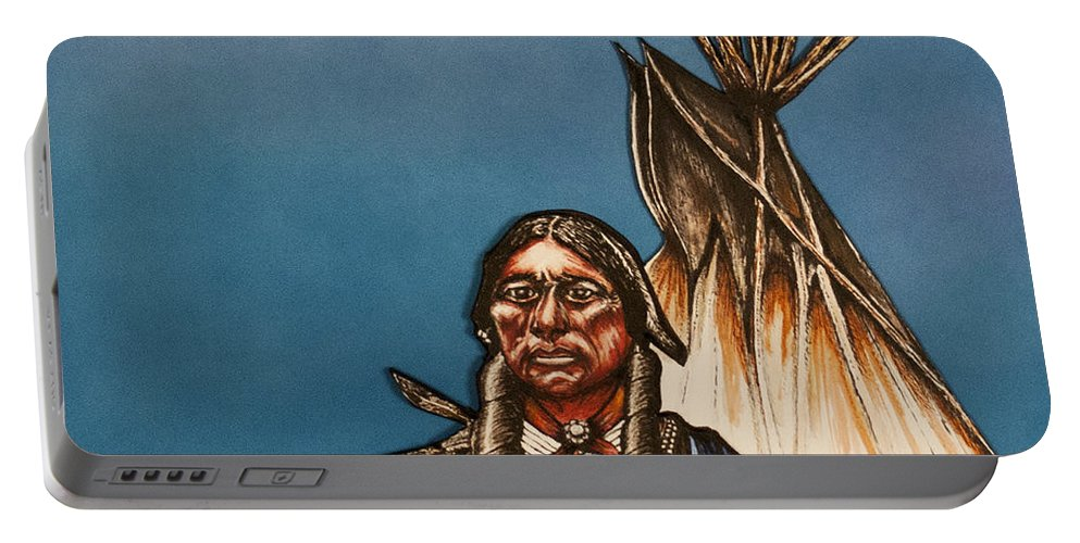 Comanche Moon Portable Battery Charger featuring the mixed media Comanche Moon by Kem Himelright