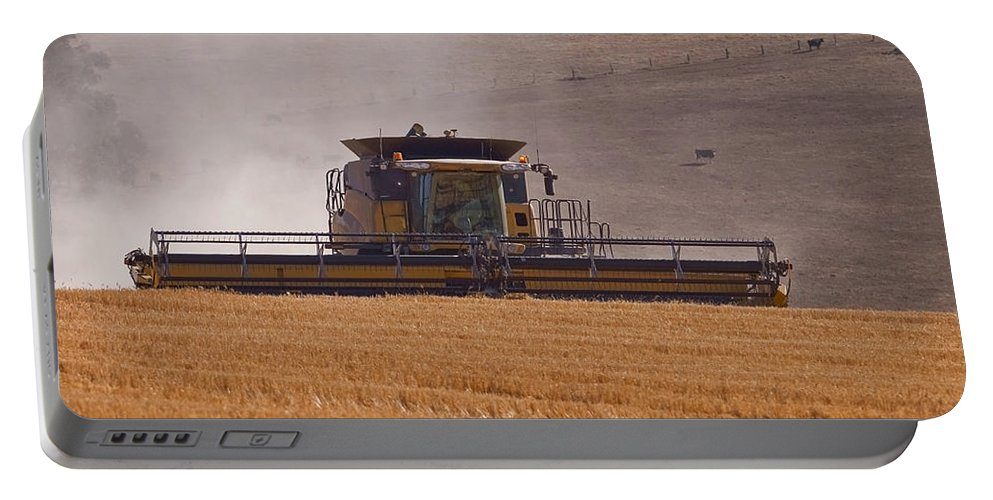 New Holland Portable Battery Charger featuring the photograph Combine Harvester And Cows by Michelle Wrighton