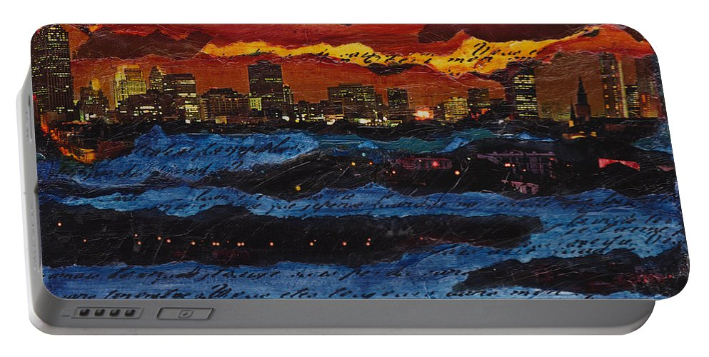 Come Portable Battery Charger featuring the painting Come Away With Me by Cindy Johnston