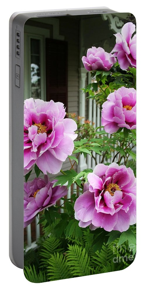 Flowers Portable Battery Charger featuring the photograph Come Stay A While by Barbara McMahon