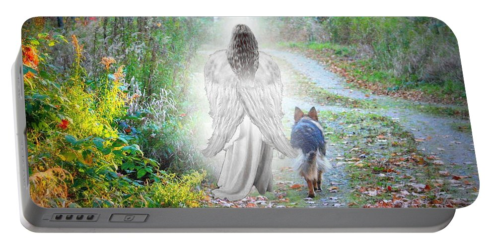 German Shepherd Portable Battery Charger featuring the photograph Come Walk With Me by Sue Long