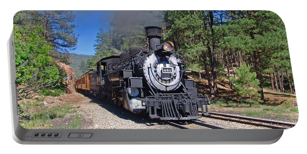 Steam Trains Portable Battery Charger featuring the photograph Coming Off The High Line by Shelly Gunderson