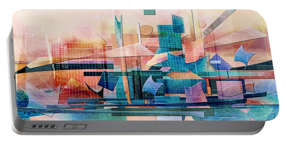 Commerce Puzzle Portable Battery Charger featuring the digital art Commerce by Jean Moore