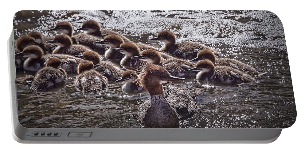 Art Portable Battery Charger featuring the photograph Common Merganser With Chicks by Randall Nyhof