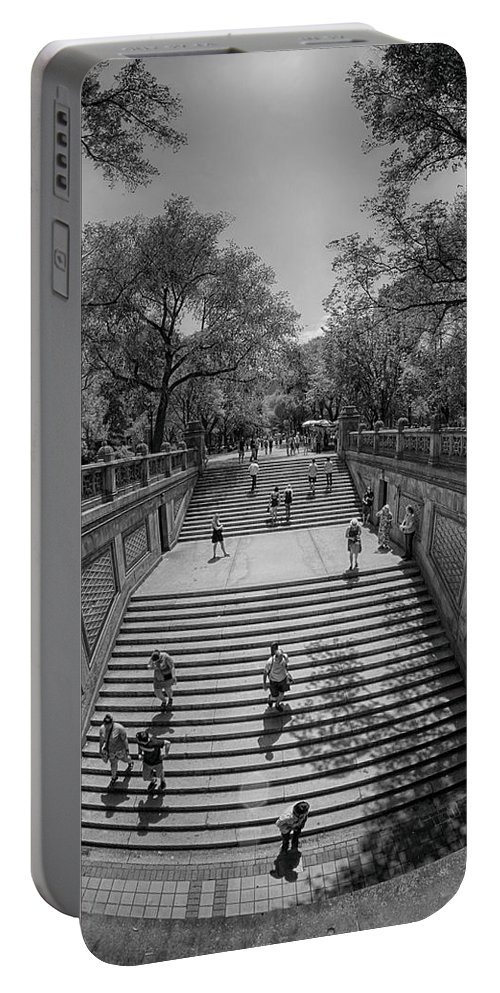 Central Park New York City Black White Commute Leisure Gray Grays Stairs Stone Cityscape Trees Photography Portable Battery Charger featuring the photograph Commute by Paul Watkins