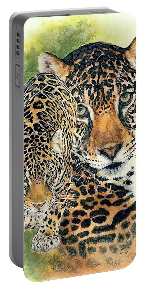 Jaguar Portable Battery Charger featuring the mixed media Compelling by Barbara Keith