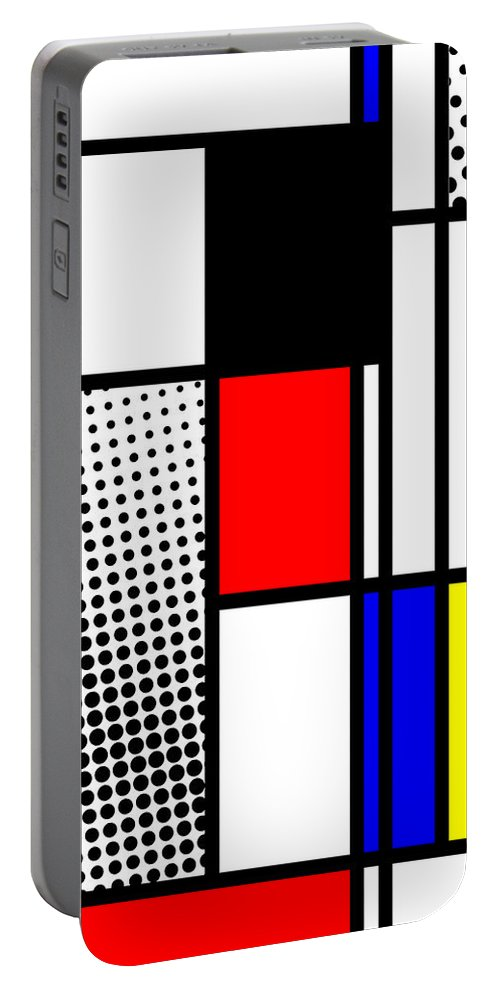 Mondrian Portable Battery Charger featuring the mixed media Composition 100 by Dominic Piperata