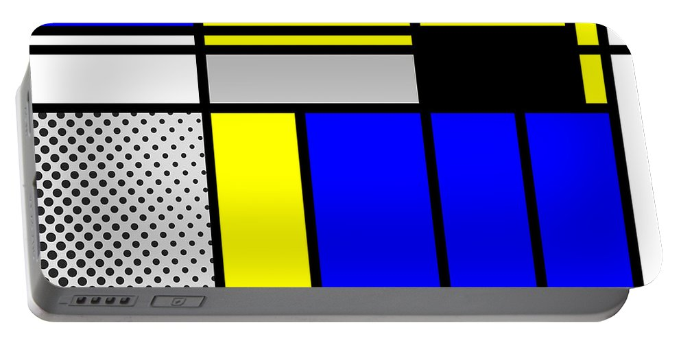 Mondrian Portable Battery Charger featuring the mixed media Composition 101 by Dominic Piperata