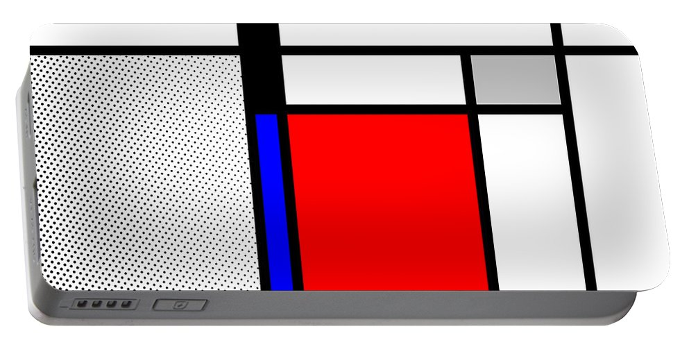 Mondrian Portable Battery Charger featuring the mixed media Composition 102 by Dominic Piperata