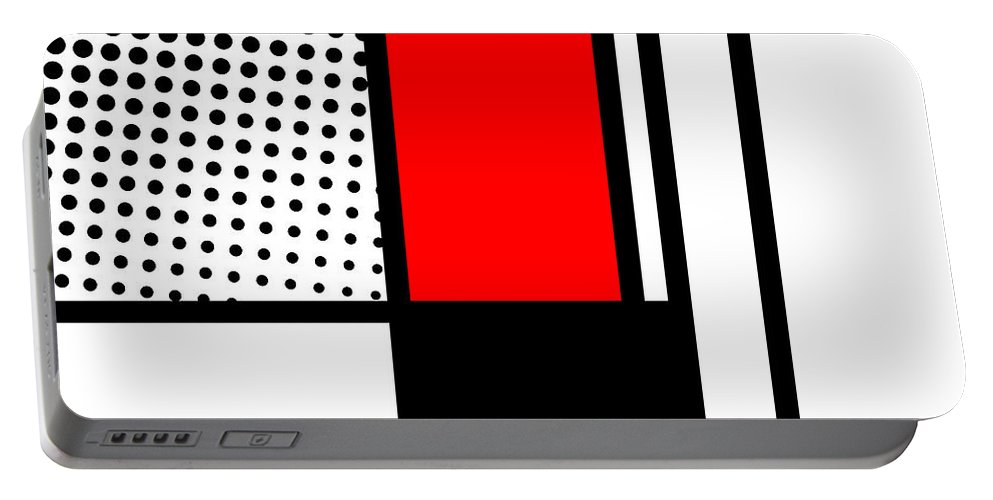 Mondrian Portable Battery Charger featuring the mixed media Composition 105 by Dominic Piperata