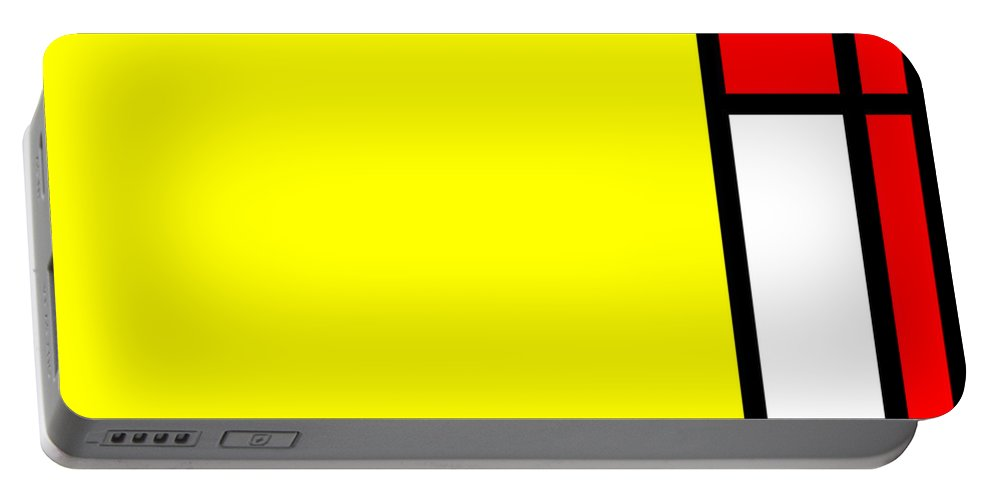 Mondrian Portable Battery Charger featuring the mixed media Composition 108 by Dominic Piperata