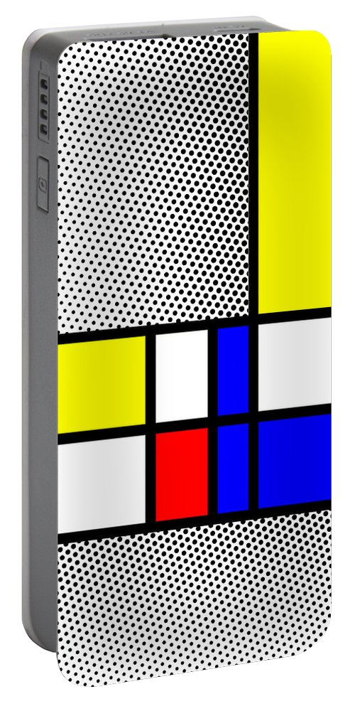 Mondrian Portable Battery Charger featuring the mixed media Composition 111 by Dominic Piperata