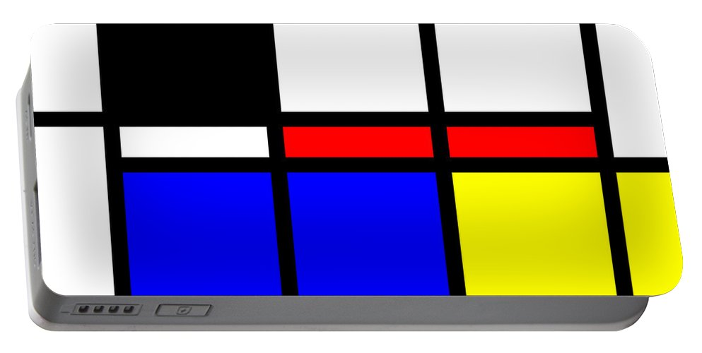 Mondrian Portable Battery Charger featuring the mixed media Composition 114 by Dominic Piperata