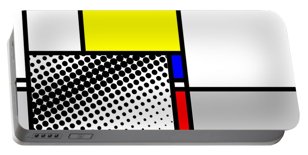 Mondrian Portable Battery Charger featuring the mixed media Composition 115 by Dominic Piperata
