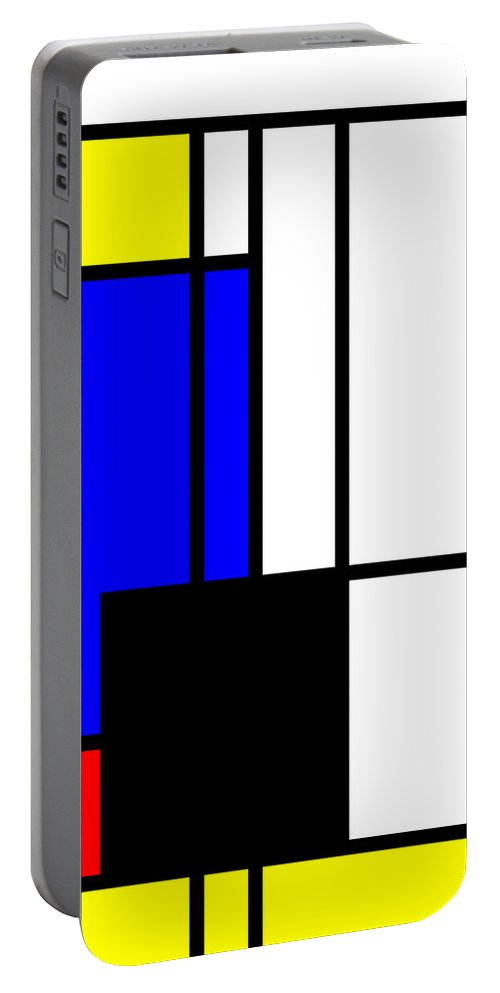 Mondrian Portable Battery Charger featuring the mixed media Composition 118 by Dominic Piperata