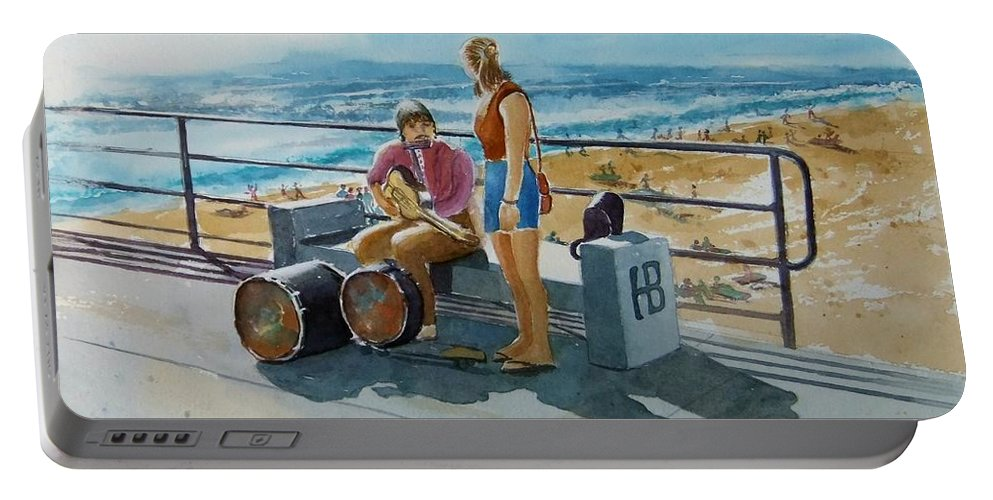 Music Portable Battery Charger featuring the painting Concert In The Sun To An Audience Of One by Debbie Lewis