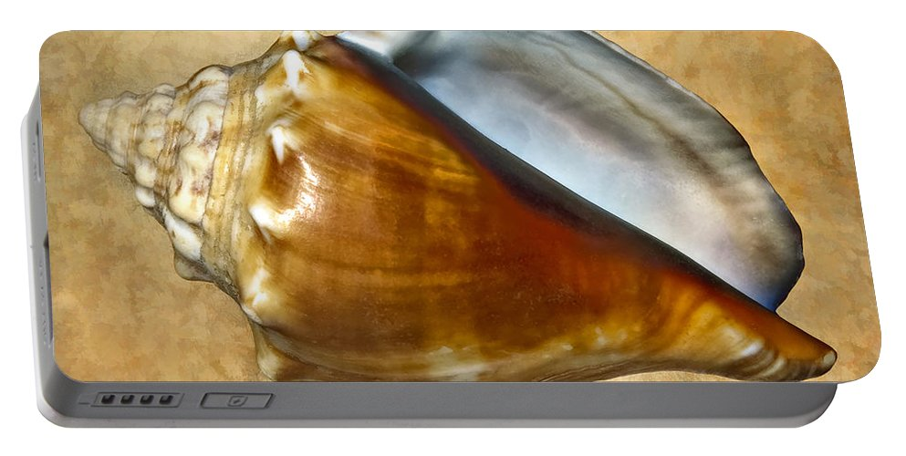 Seashell. Macro Portable Battery Charger featuring the photograph Conch 2 by Steve Harrington