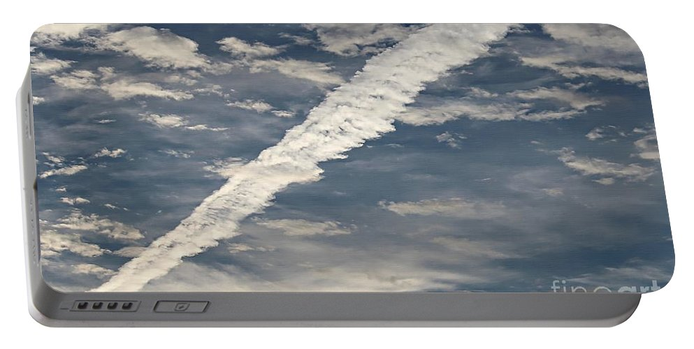 Condensation Trails - Contrails - Airplane Portable Battery Charger featuring the photograph Condensation Trails - Contrails - Airplane by Barbara Griffin