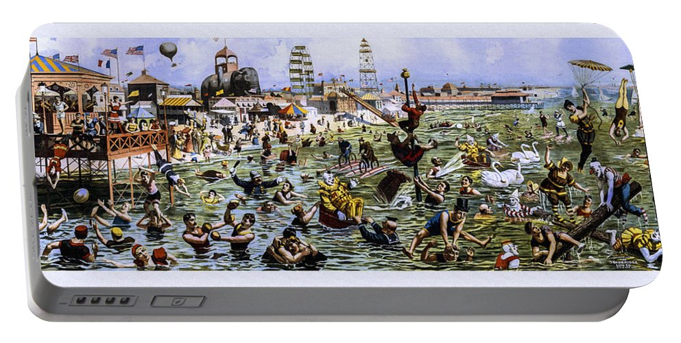 Strobridge Portable Battery Charger featuring the photograph Coney Island Beach And Boardwalk by Diana Powell
