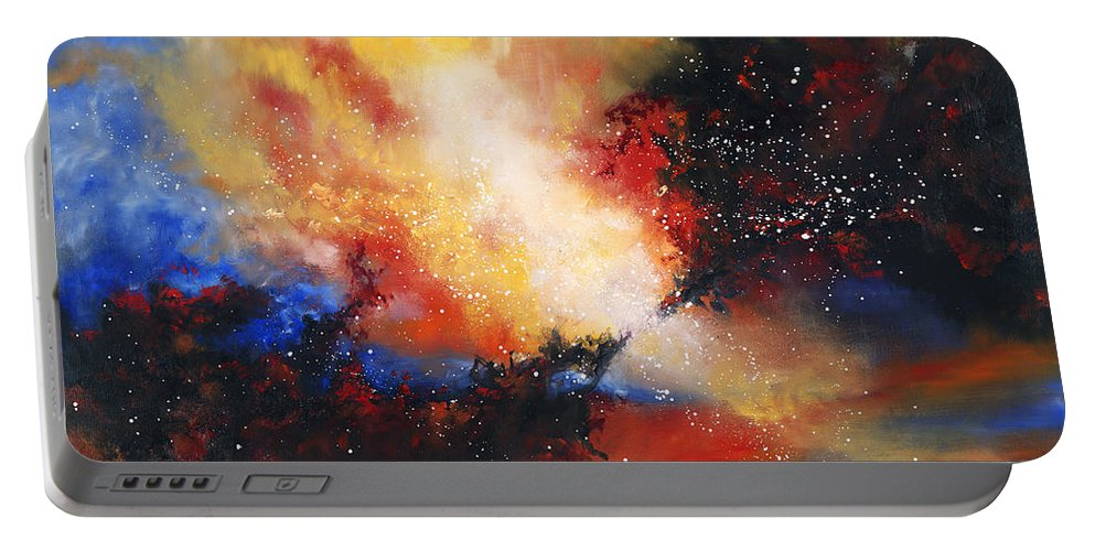 Oil Portable Battery Charger featuring the painting Confluence by Christopher Lyter