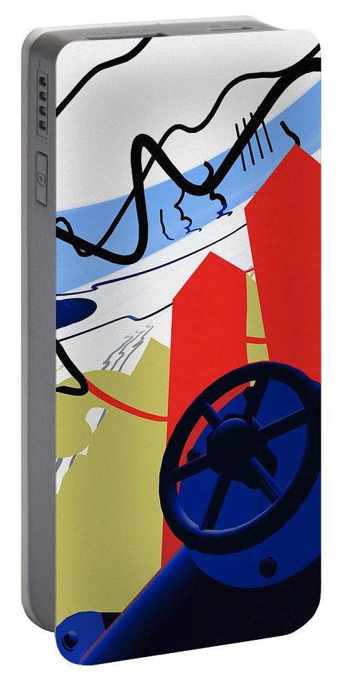 Abstract Portable Battery Charger featuring the digital art Connections by Richard Rizzo
