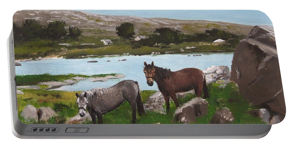 Connemara Portable Battery Charger featuring the painting Connemara Ponies by Tony Gunning