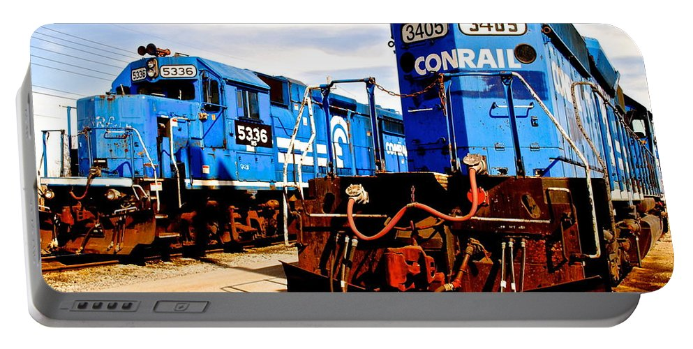 Conrail Portable Battery Charger featuring the photograph Conrail Choo Choo by Frozen in Time Fine Art Photography