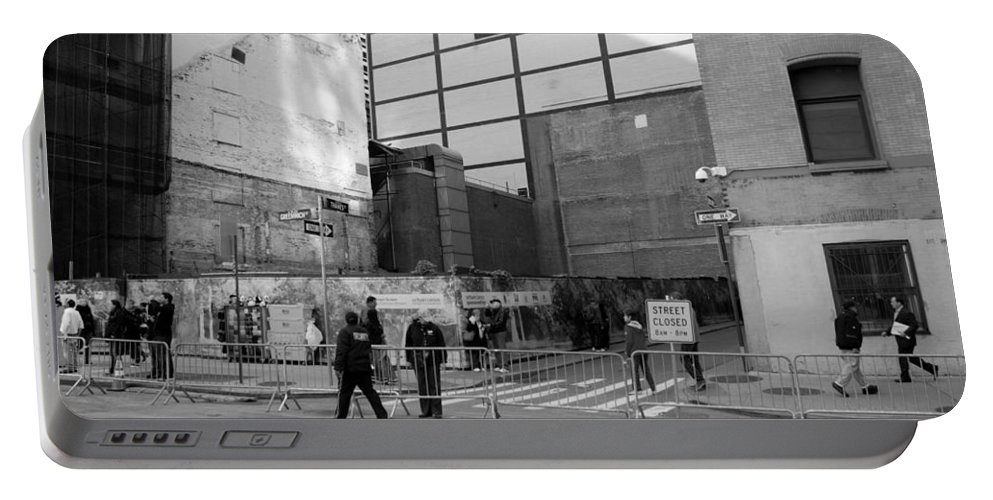 Wtc Portable Battery Charger featuring the photograph Construction In Black And White by Rob Hans