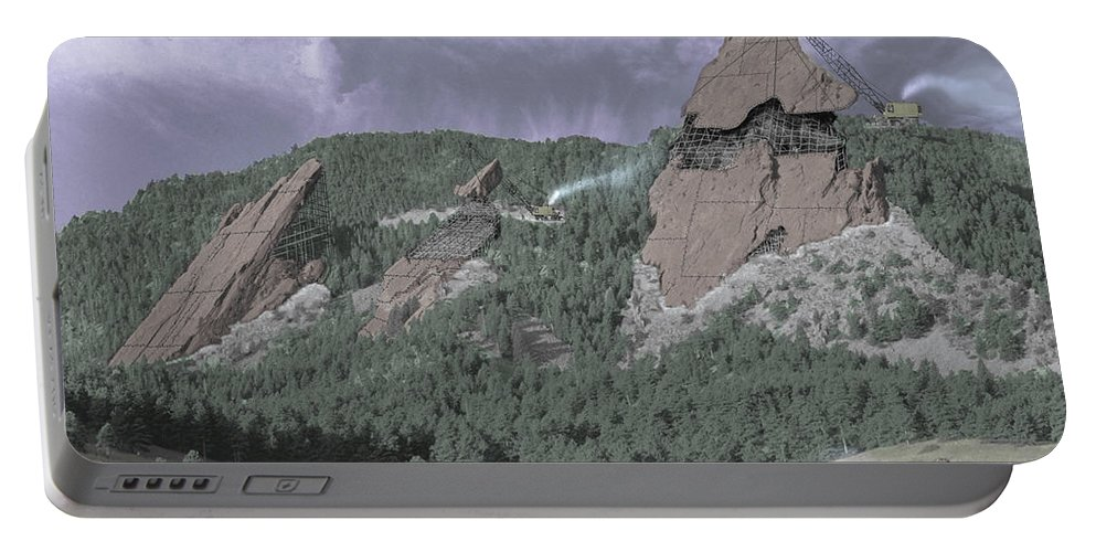 Boulder Portable Battery Charger featuring the photograph Construction Of The Flatirons - 1931 by Jerry McElroy