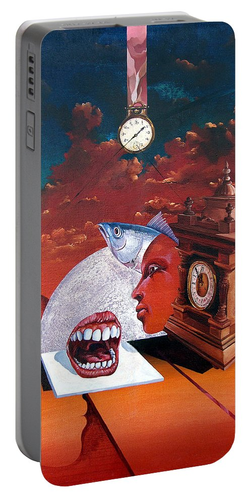 Otto+rapp Surrealism Surreal Fantasy Time Clocks Watch Consumption Portable Battery Charger featuring the painting Consumption Of Time by Otto Rapp