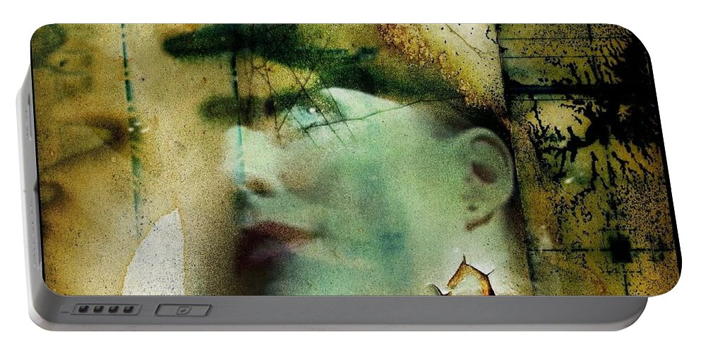 Female Image Portable Battery Charger featuring the digital art Contemplation by Ellen Cannon