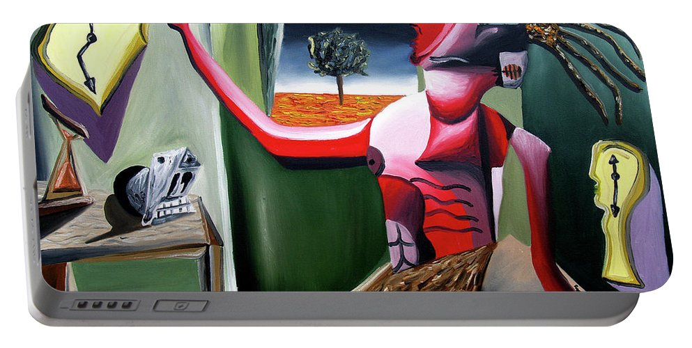 Abstract Portable Battery Charger featuring the painting Contemplifluxuation by Ryan Demaree