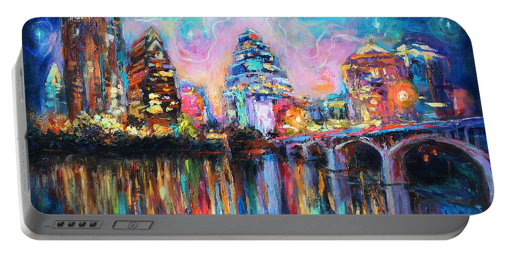Downtown Austin Art Portable Battery Charger featuring the painting Contemporary Downtown Austin Art Painting Night Skyline Cityscape Painting Texas by Svetlana Novikova