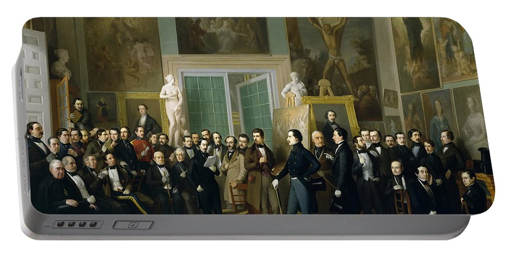 Antonio Maria Esquivel Portable Battery Charger featuring the painting Contemporary Poets. A Reading By Zorilla In The Painters Studio by Antonio Maria Esquivel