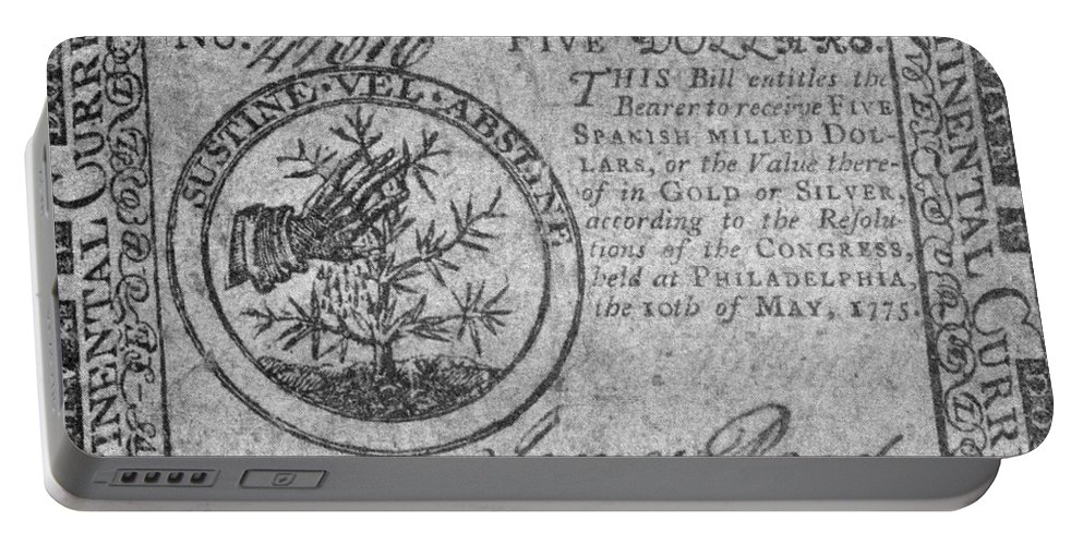 1775 Portable Battery Charger featuring the photograph Continental Currency, 1775 by Granger