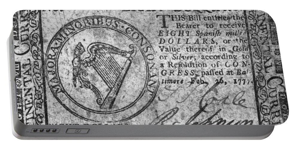 1777 Portable Battery Charger featuring the photograph Continental Currency, 1777 by Granger