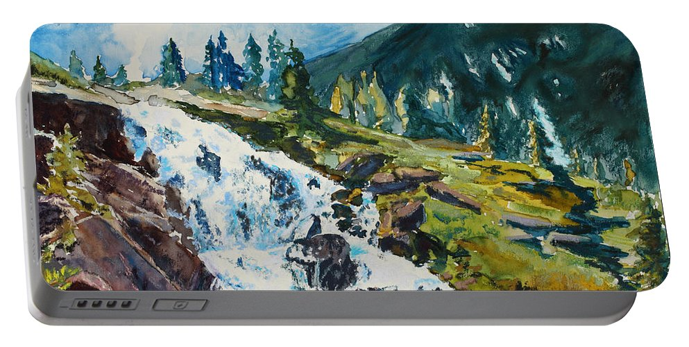 Continental Falls Portable Battery Charger featuring the painting Continental Falls by Mary Benke