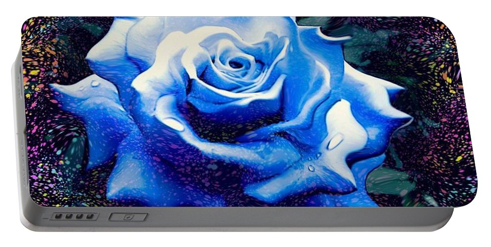 Contorted Rose Prints Portable Battery Charger featuring the digital art Contorted Rose by Catherine Lott