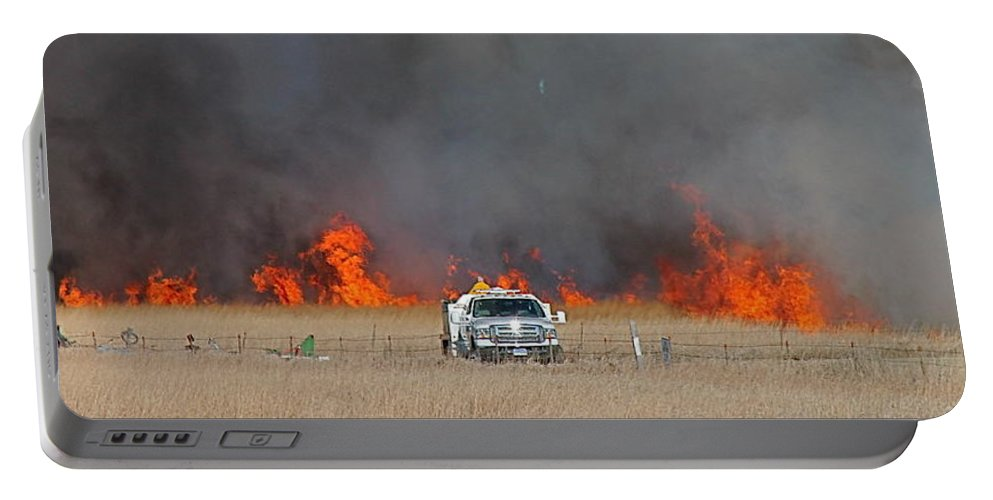 Fire Portable Battery Charger featuring the photograph Controlled Burn And Brush Truck by Wayne Williams
