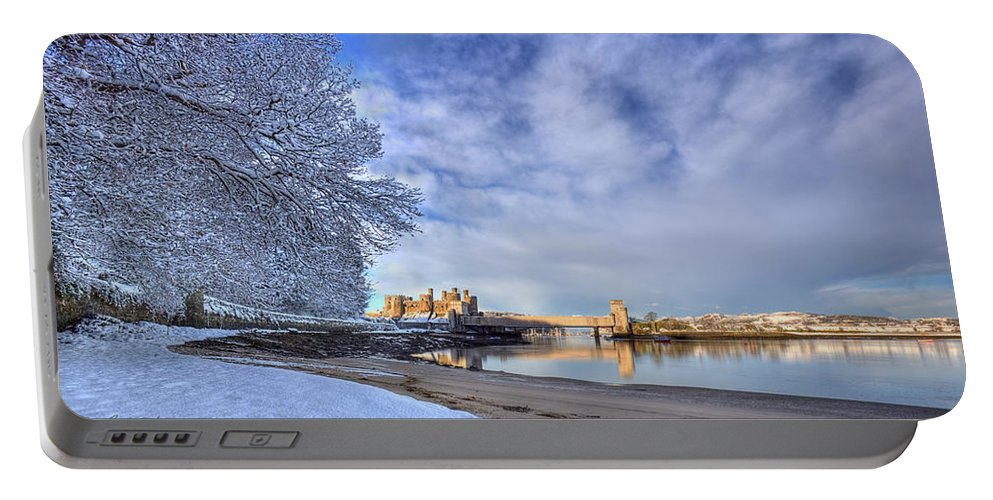 Snow Portable Battery Charger featuring the photograph Conwy Castle Snow by Beverly Cash
