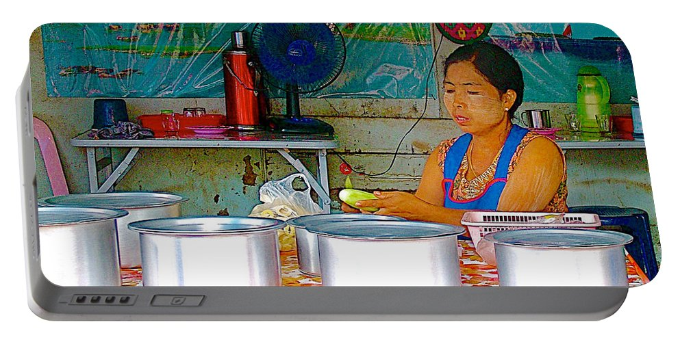 Cooking In Marketplace In Tachilek Portable Battery Charger featuring the photograph Cooking In The Marketplace In Tachilek-burma by Ruth Hager